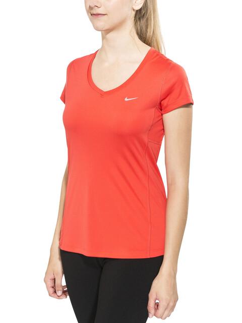 Nike Miler Short Sleeve Top Women V-Neck lt crimson